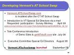 developing vermont s at school swap
