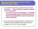 performance measures cannot be used in rsa data report why