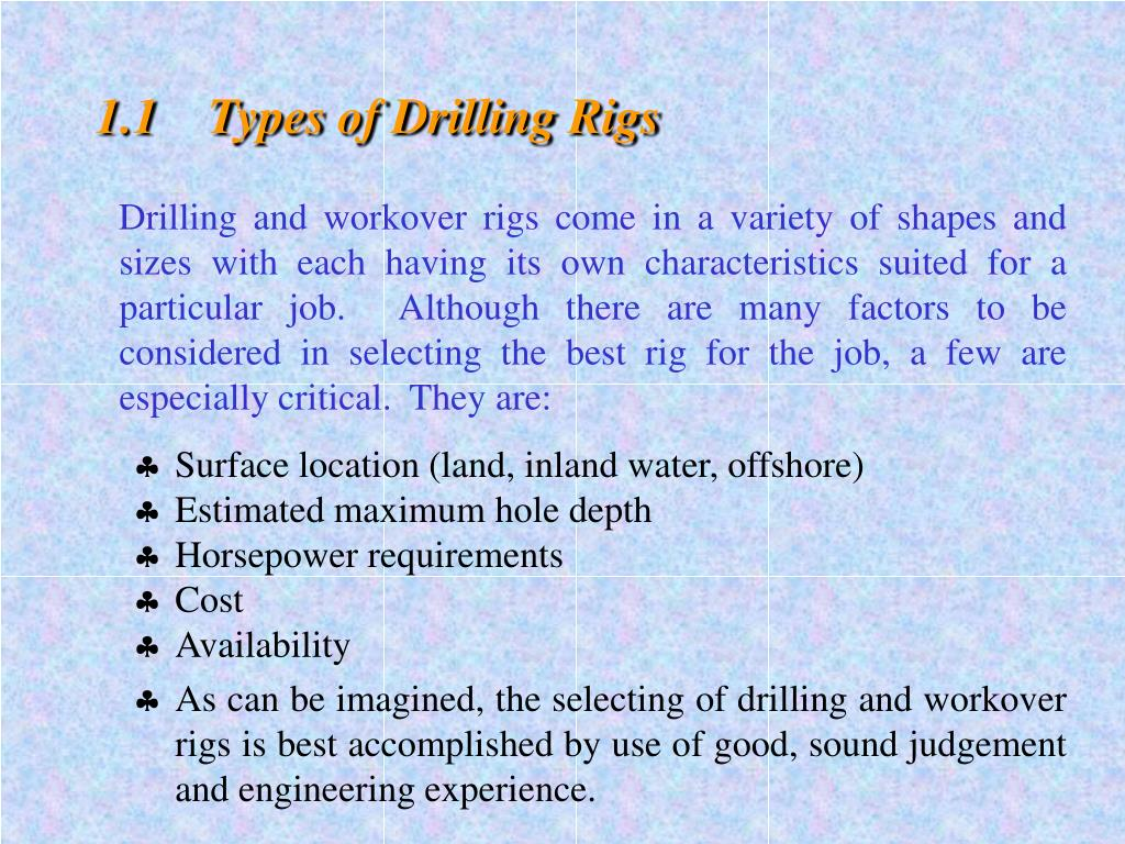 1.1	Types of Drilling Rigs