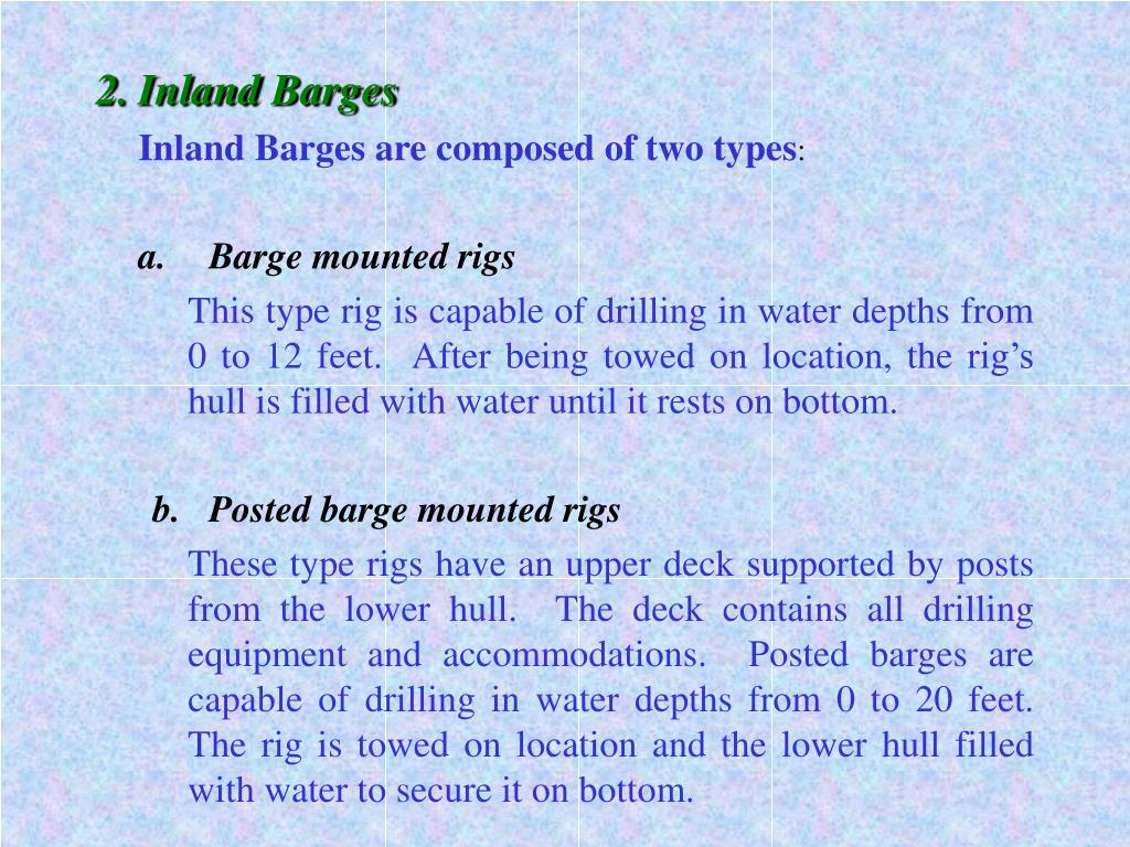 2.	Inland Barges