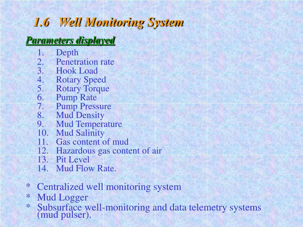 1.6   Well Monitoring System
