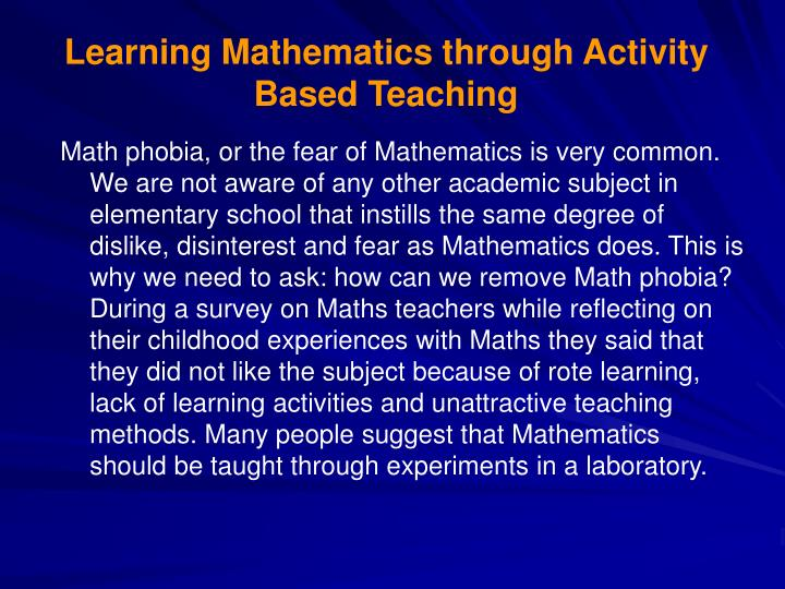 Learning Mathematics through Activity Based Teaching