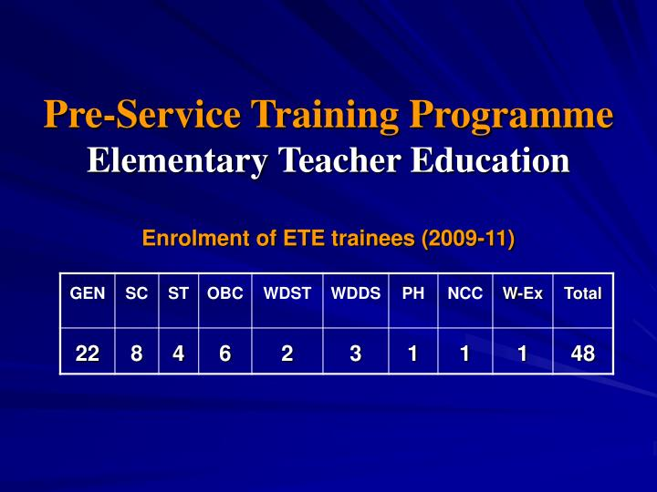 Pre service training programme elementary teacher education enrolment of ete trainees 2009 11
