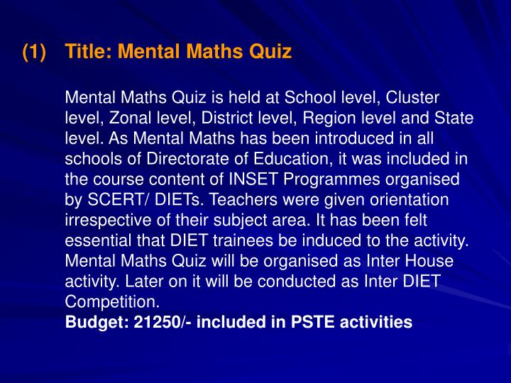 Title: Mental Maths Quiz