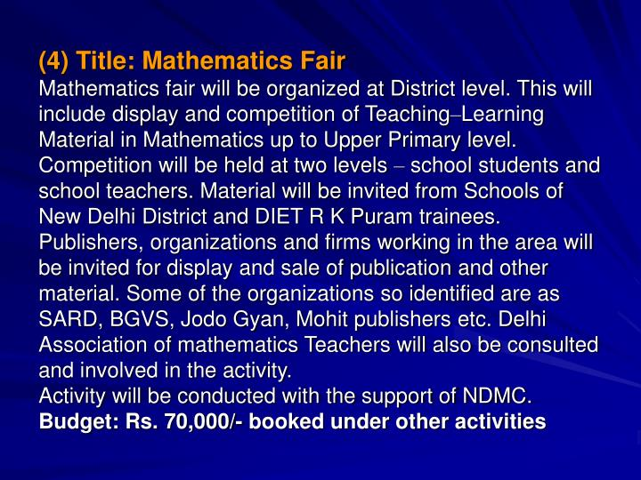 (4) Title: Mathematics Fair