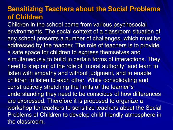 Sensitizing Teachers about the Social Problems of Children