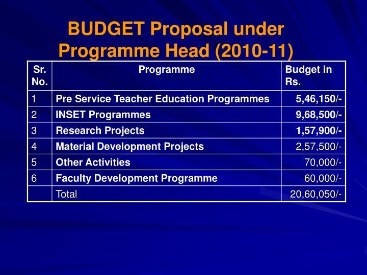 BUDGET Proposal under Programme Head (2010-11)