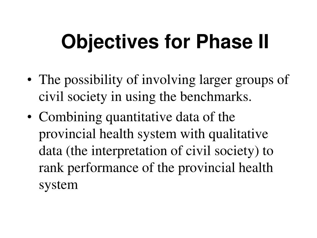 Objectives for Phase II