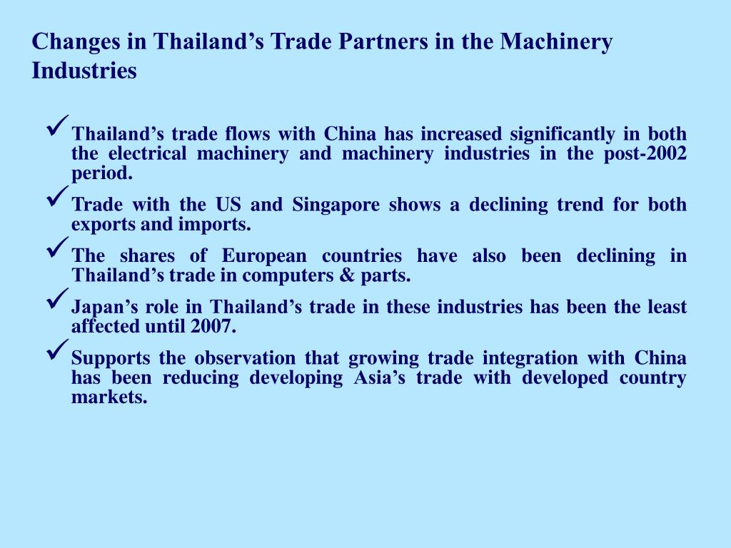 Changes in Thailand's Trade Partners in the Machinery Industries