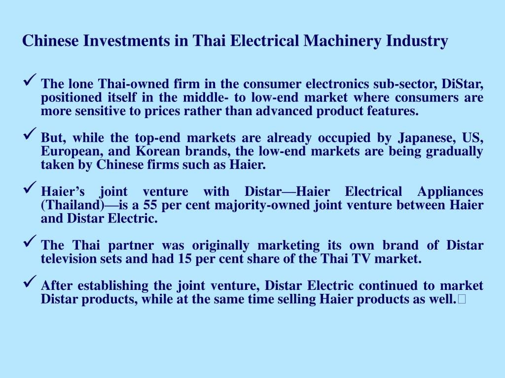 Chinese Investments in Thai Electrical Machinery Industry