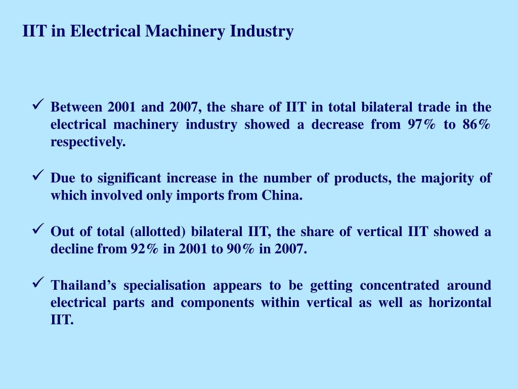 IIT in Electrical Machinery Industry