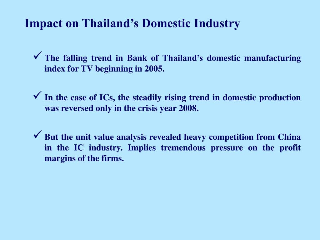 Impact on Thailand's Domestic Industry