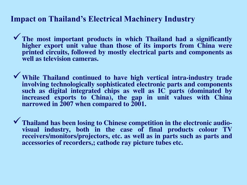 Impact on Thailand's Electrical Machinery Industry