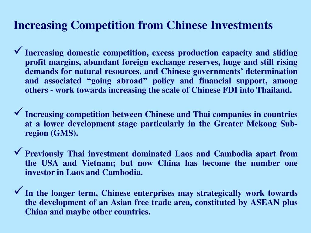 Increasing Competition from Chinese Investments