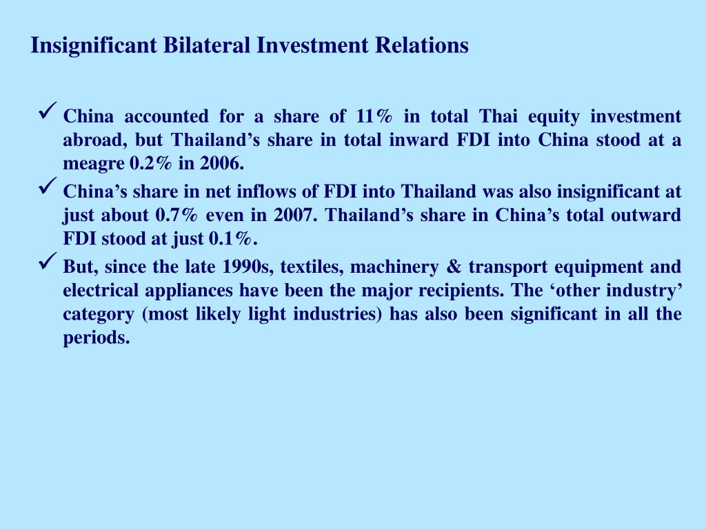 Insignificant Bilateral Investment Relations