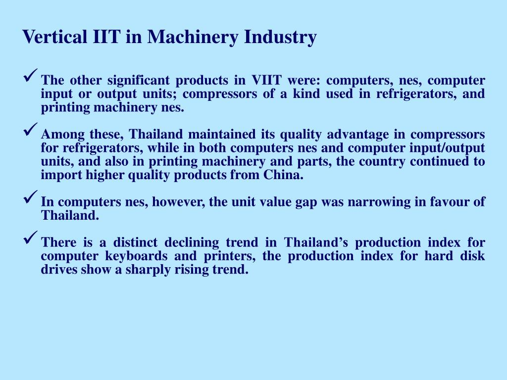 Vertical IIT in Machinery Industry