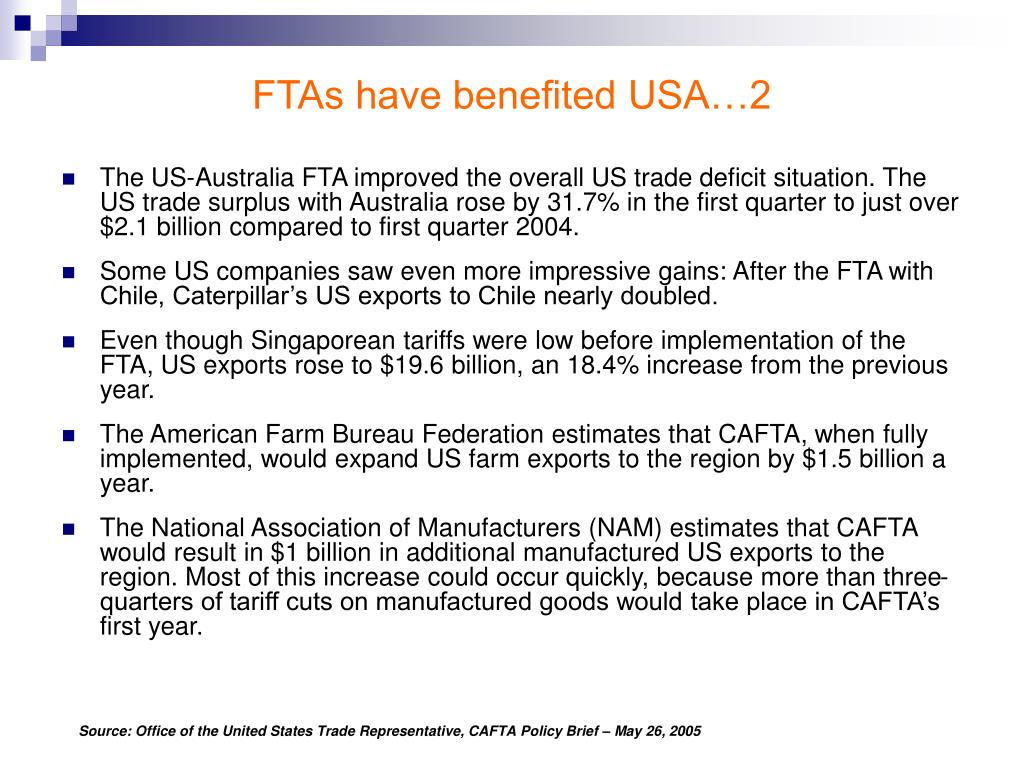 FTAs have benefited USA…2