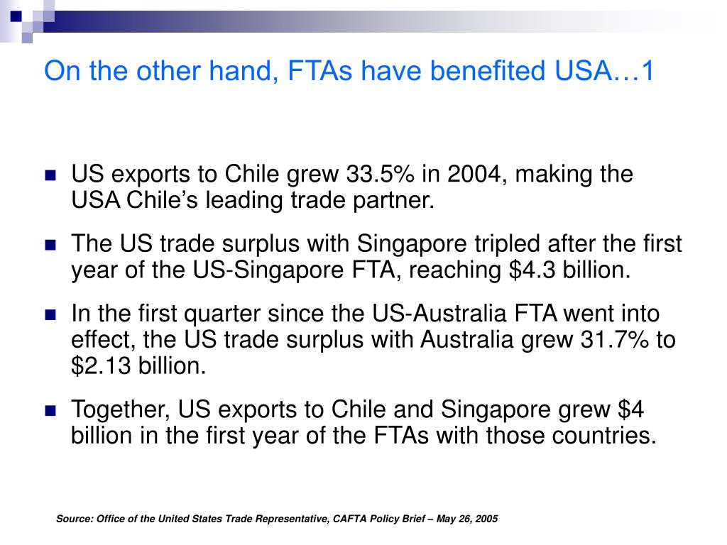 On the other hand, FTAs have benefited USA…1