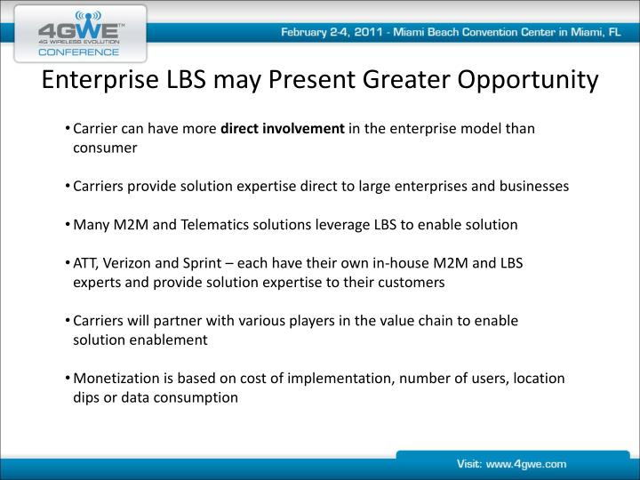 Enterprise LBS may Present Greater Opportunity