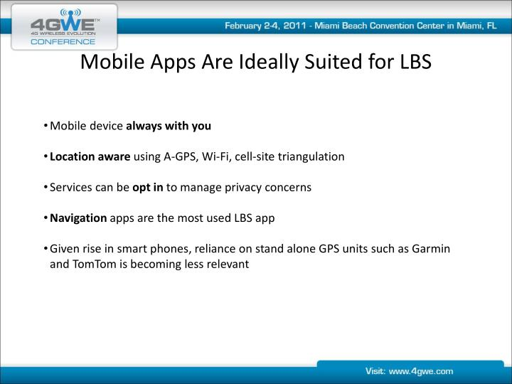 Mobile apps are ideally suited for lbs