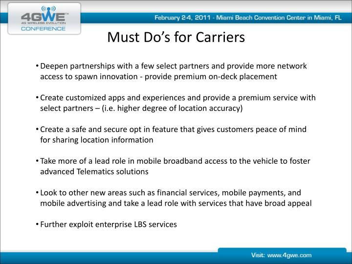 Must Do's for Carriers