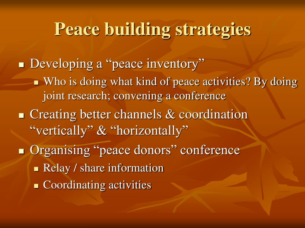 Peace building strategies