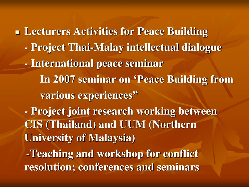 Lecturers Activities for Peace Building