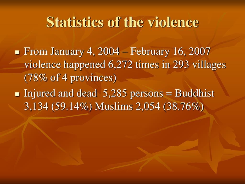 Statistics of the violence