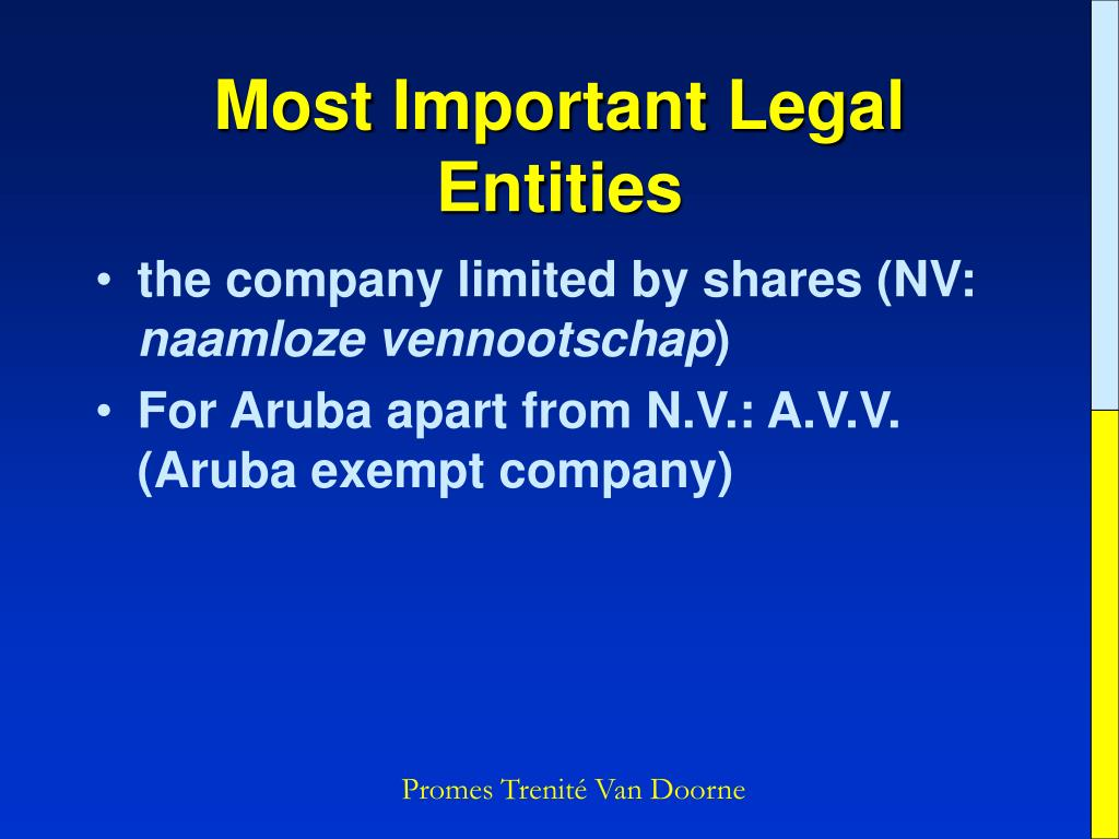 Most Important Legal Entities
