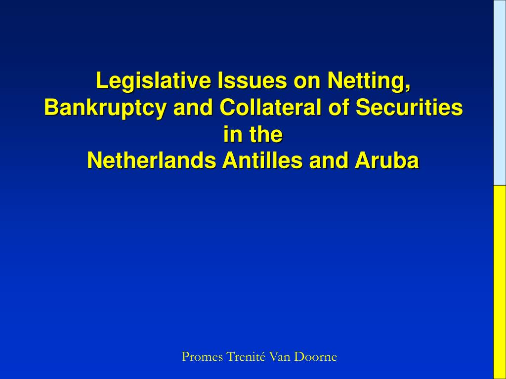 Legislative Issues on Netting, Bankruptcy and Collateral of Securities in the