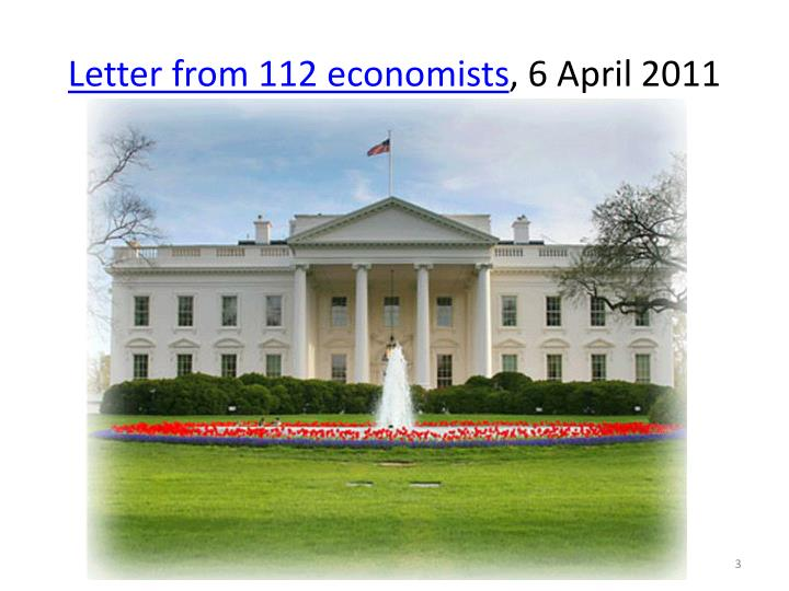 Letter from 112 economists 6 april 2011