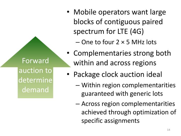 Mobile operators want large blocks of contiguous paired spectrum for LTE (4G)