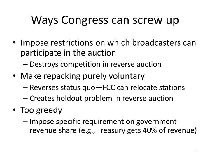 Ways Congress can screw up