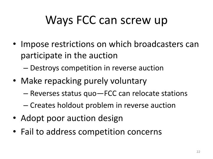 Ways FCC can screw up