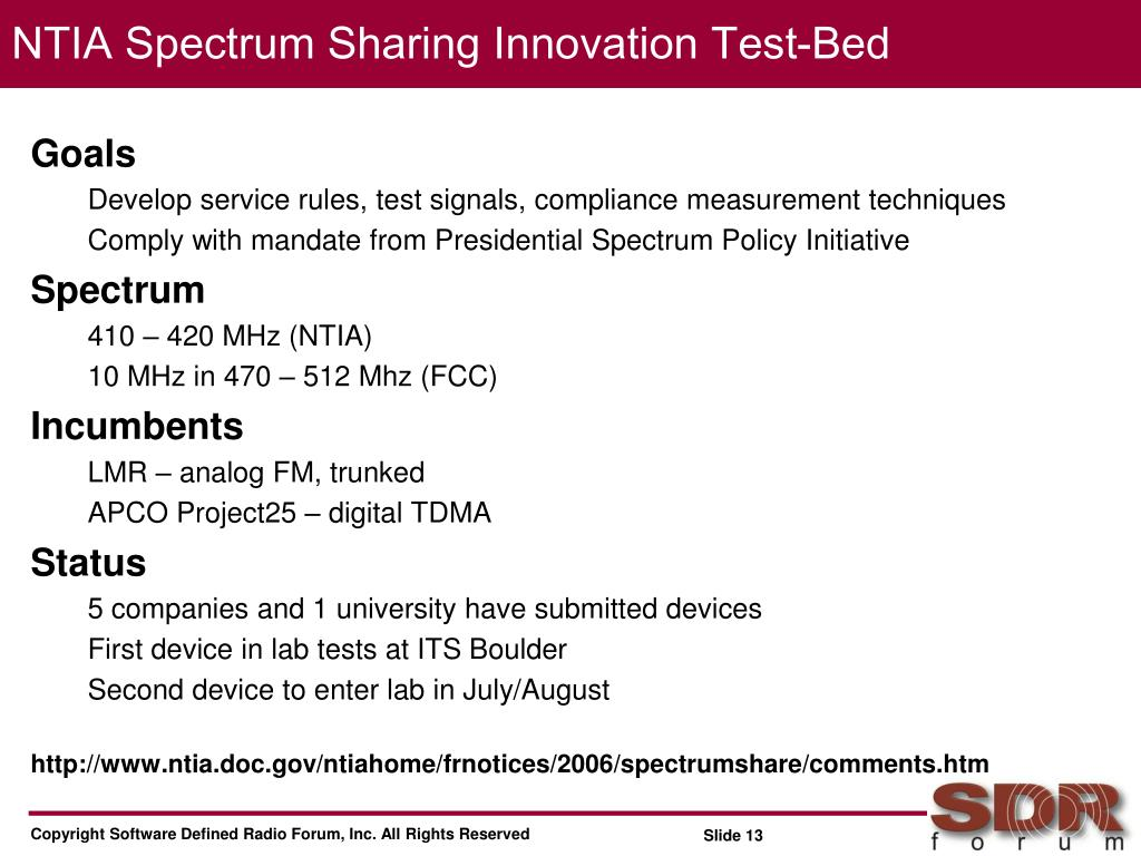 NTIA Spectrum Sharing Innovation Test-Bed