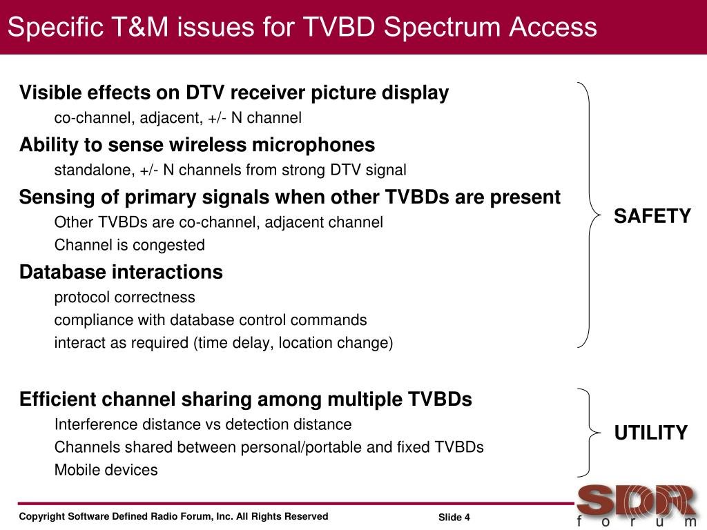 Specific T&M issues for TVBD Spectrum Access