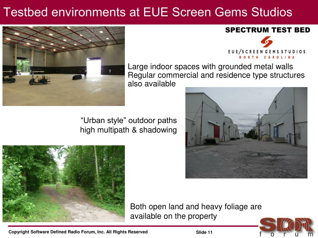 Testbed environments at EUE Screen Gems Studios