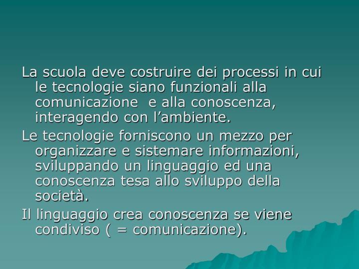 La scuola deve costruire dei processi in cui le tecnologie siano funzionali alla comunicazione  e alla conoscenza, interagendo con l'ambiente.