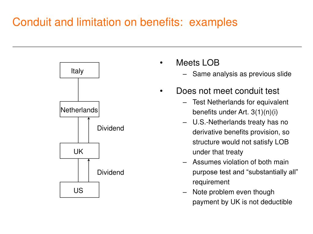 Conduit and limitation on benefits:  examples