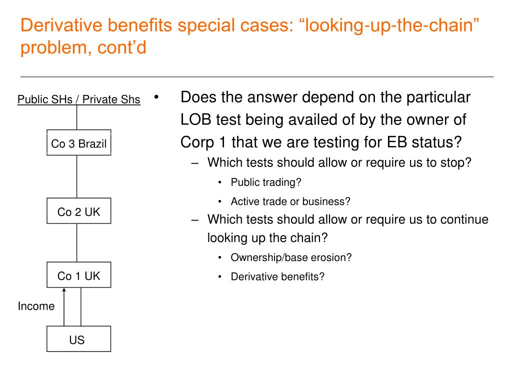 "Derivative benefits special cases: ""looking-up-the-chain"" problem, cont'd"