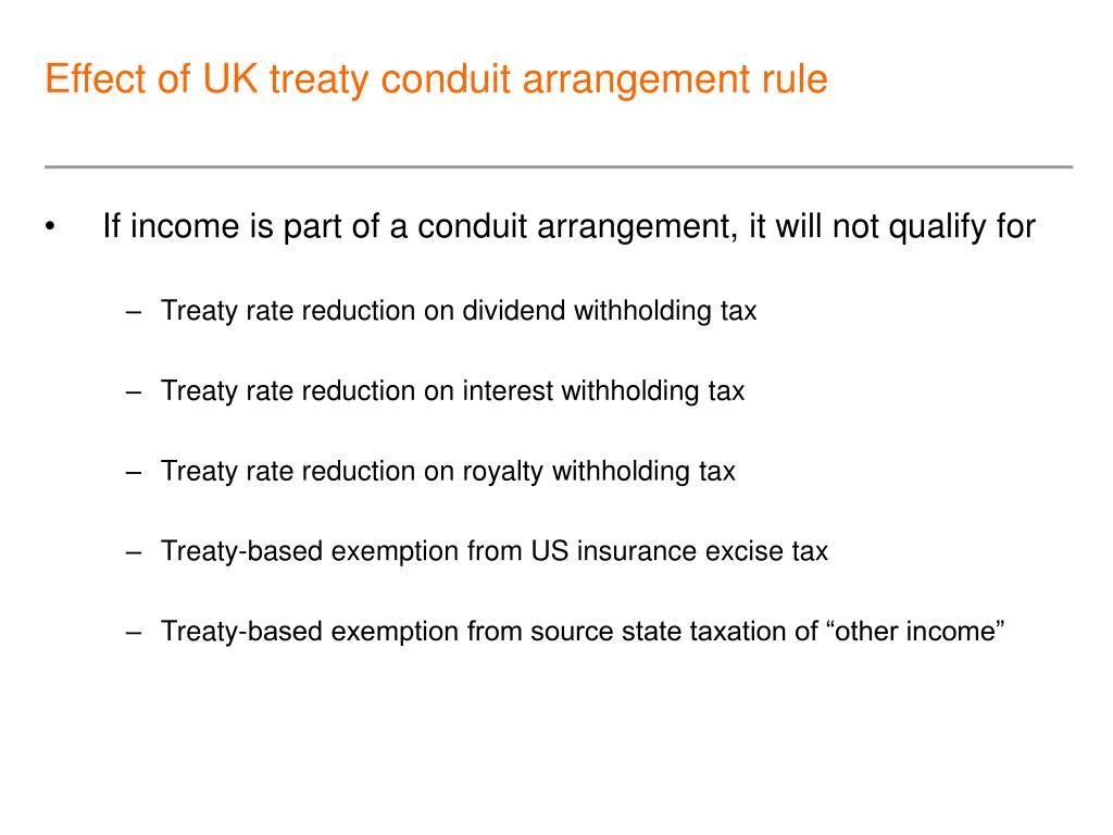 Effect of UK treaty conduit arrangement rule