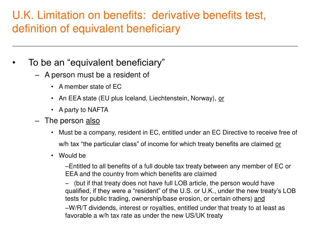 U.K. Limitation on benefits:  derivative benefits test,