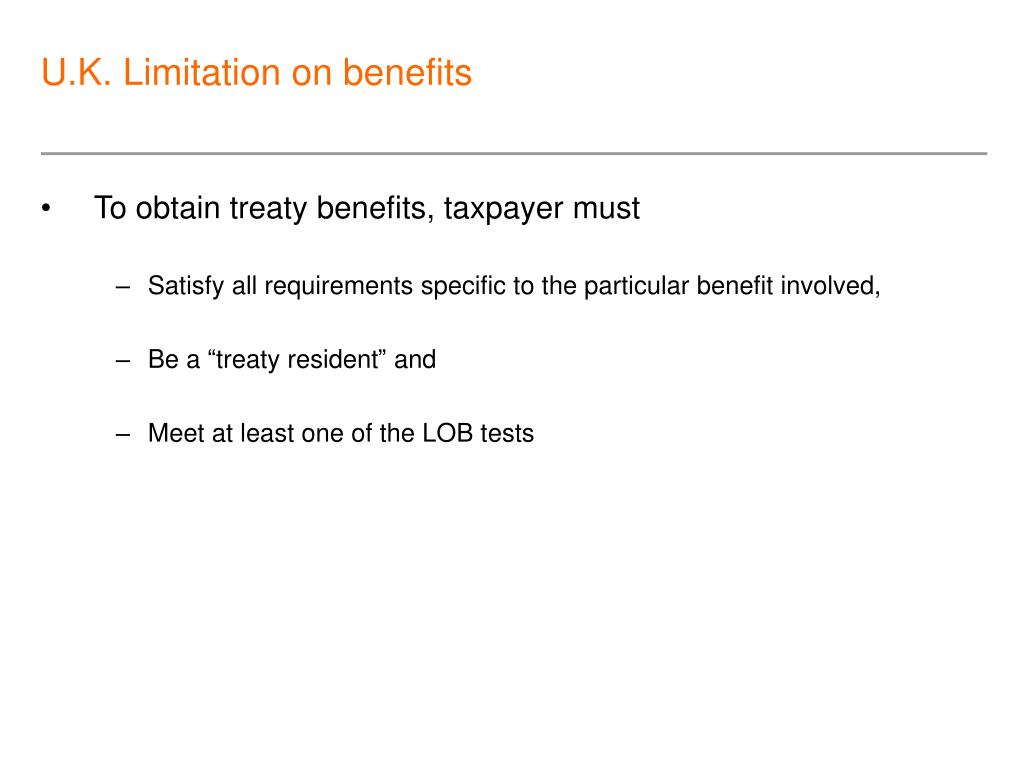 U.K. Limitation on benefits