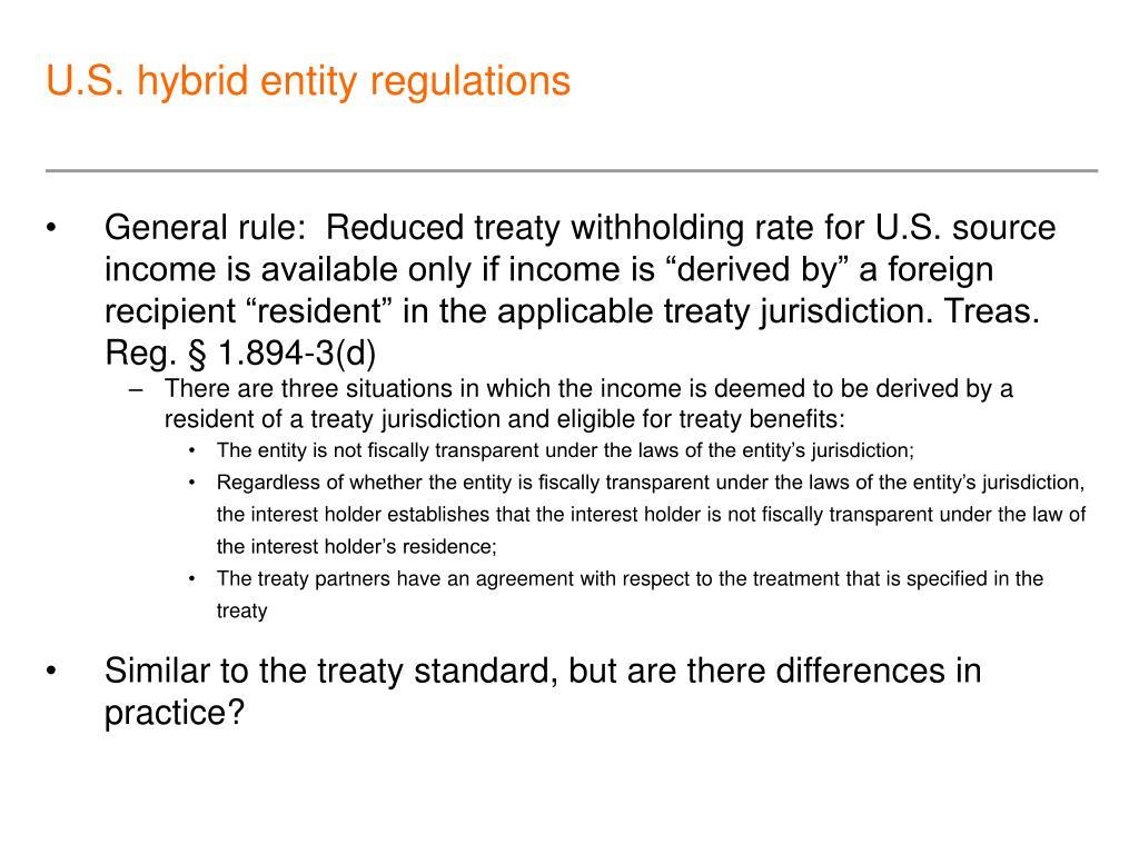 U.S. hybrid entity regulations