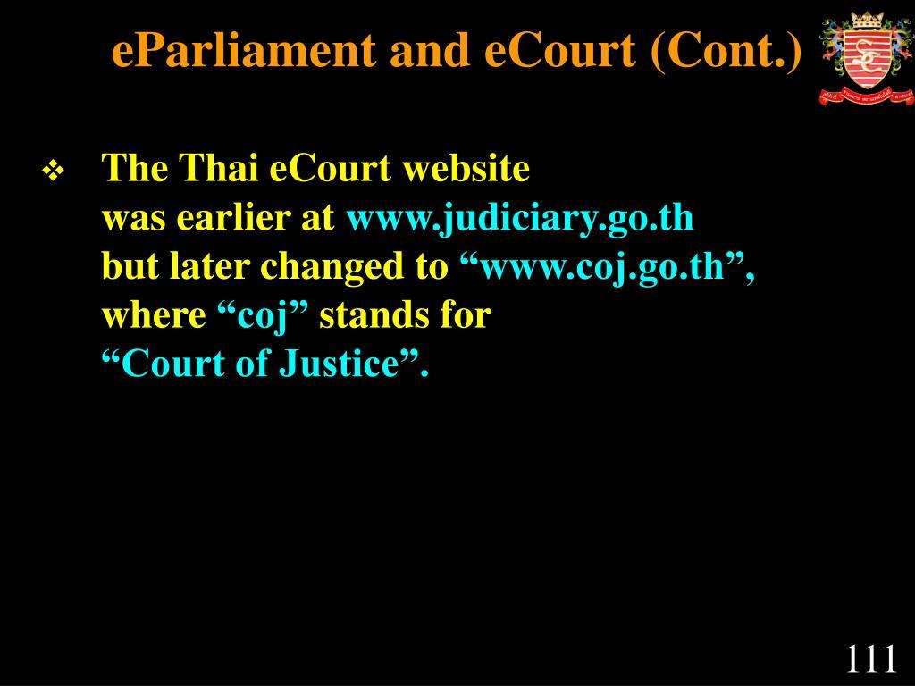 eParliament and eCourt (Cont.)