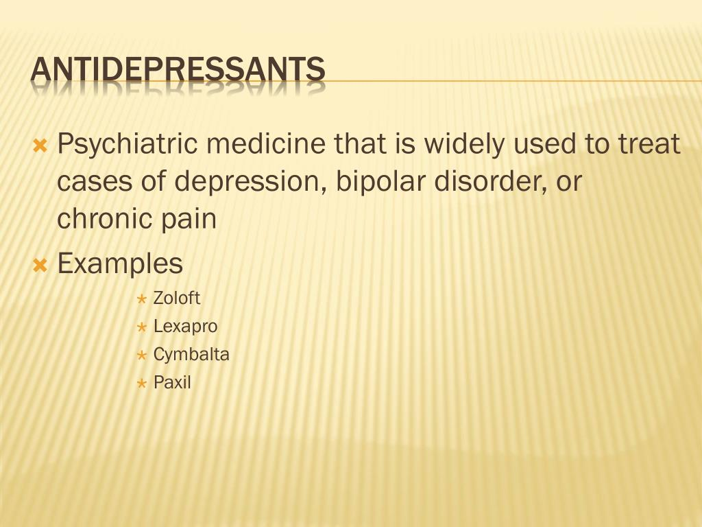 Psychiatric medicine that is widely used to treat cases of depression, bipolar disorder, or chronic pain