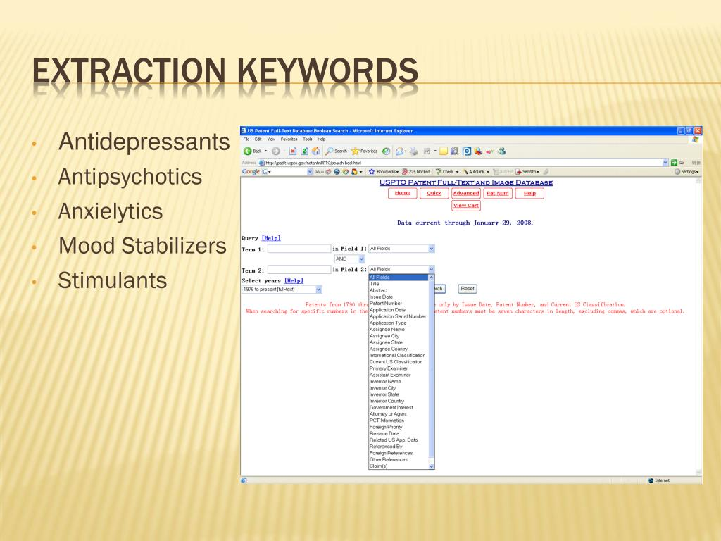 EXTRACTION KEYWORDS