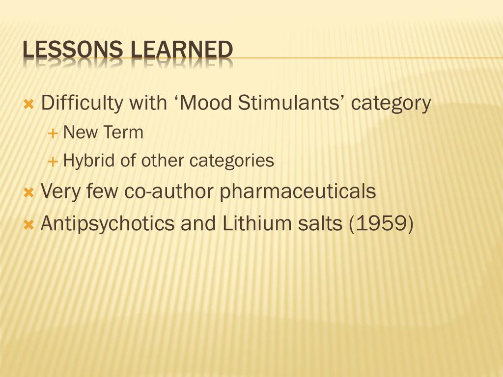 Difficulty with 'Mood Stimulants' category