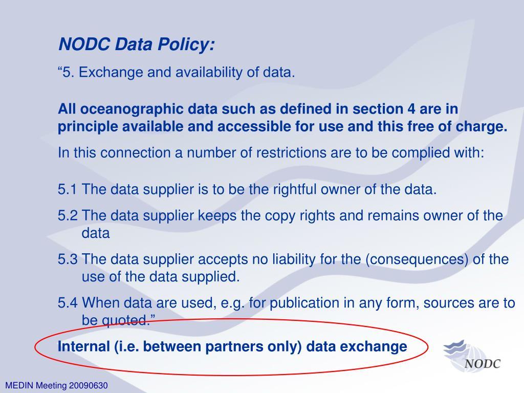 NODC Data Policy: