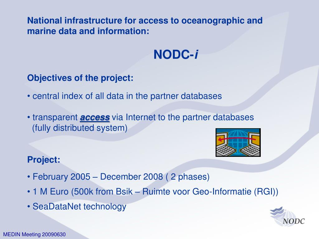 National infrastructure for access to oceanographic and
